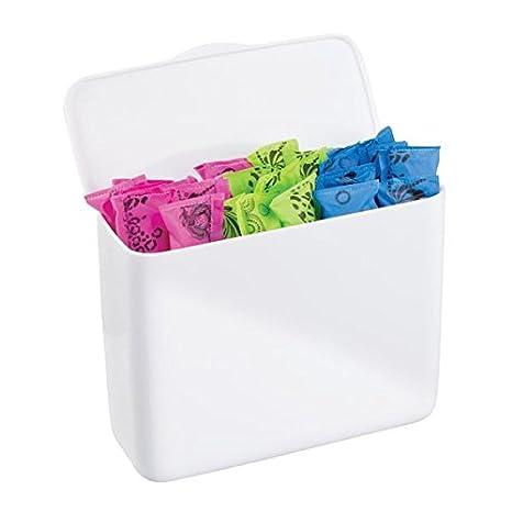 mDesign Caja organizadora para tampones – Discreto contenedor con tapa – Se cuelga de los muebles