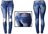 Juniors Women's Blue Jean Denim Stretch Skinny Ripped Distressed Jeans Pants (17, Blue Ripped)