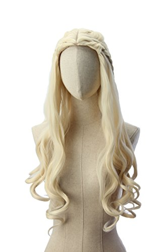 Light wavy blonde Khaleesi Daenerys Targaryen Wig Inspired by Game of Thrones Costume Cosplay Synthetic Hair -