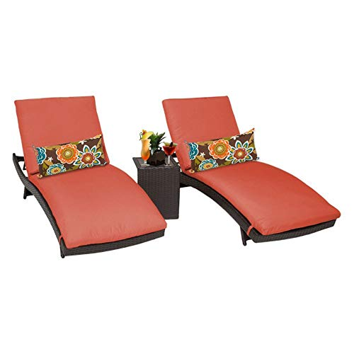 TK Classics Bali Outdoor Wicker Patio Chaise Furniture with Side Table, Set of 2, Tangerine