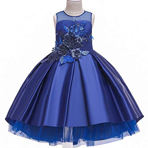 Baby Girls Infant Embroidery Dress Kids Gold Wedding Flower Dresss Robe Fille Party Dress,D0953-Blue,3T