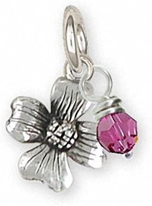 Genuine Sterling Silver 925 18k Gold Pl Cubic Zirconia Flower Pendant Bead Charm