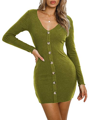 NAFOUR Women's Ribbed Knit Button Down Sweater Dress V-Neck Long Sleeve Bodycon Mini Pencil Dress Apple Green