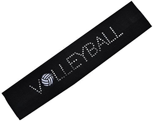 Rhinestone VOLLEYBALL PATCH Cotton Stretch Headband