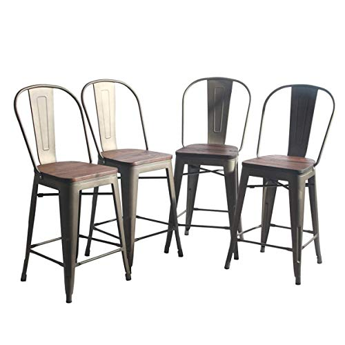 - YongQiang Metal Barstools Set of 4 Indoor Outdoor 24 inch Bar Stools High Back Dining Chair Counter Height Stool Cafe Side Chairs with Wooden Seat Rusty
