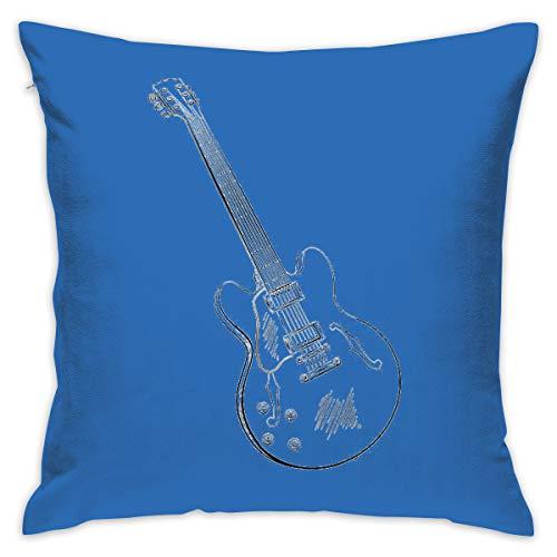 Karen Felix Throw Pillow Covers Guitar Sketch Decorative Cushion Case for Sofa Bedroom Car 18 X 18 Inch 45 X 45 cm