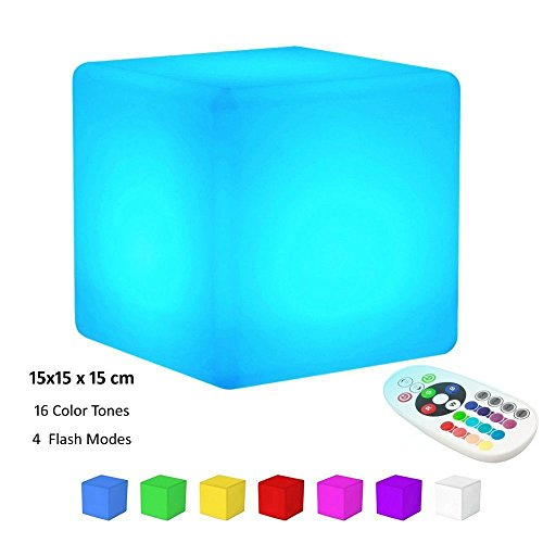 KINGCOO LED Cube Light, Waterproof Mood Lamp Rechargeable Cordless Remote Control Night Light 16 Color Change and 4 Flash Modes for Children Home Party Decorative (15CM)