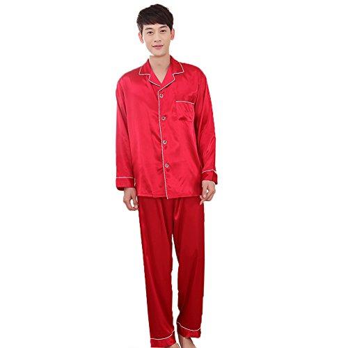 ZUEVI Men's Classic Satin Propitious Clouds Pajamas Set(RED-L-XS)