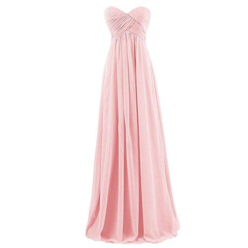 Wewind Damen Brautjunfernkleid Lang Chiffon Ballkleid Trägerlos Abendkleider Rosa V9GKOa8Lk