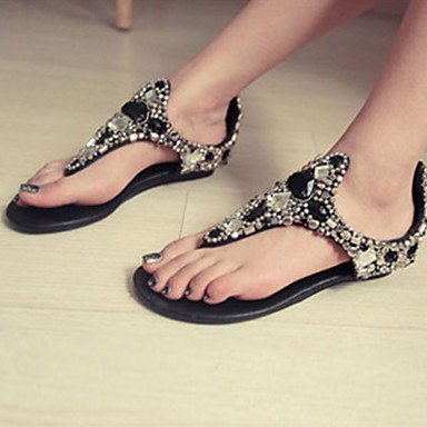 Outdoor Dress RTRY Flat 5 Pu amp; CN35 Summer EU36 Spring Zippe Career Glitter Casual Sandals Novelty Sparkling Women'S Office UK3 Fall 5 US5 Heel Comfort Crystal 716n7w8xr