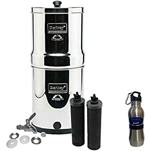 Royal Berkey Water Filter Stainless Steel Bundle: 2 Black Filters, Stainless Steel Spigot, 1 Stainless Steel Water Bottle (3 Gallon Royal Berkey)