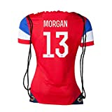 JerzeHero USA Morgan #13 Soccer Jersey Shape Drawstring Bag Backpack Gym Bag ✓ Premium Unique Design (Pack of 1, USA Morgan #13)