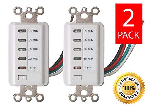 Rotary Dial Switch - Bathroom Fan Auto Shut Off 30-15-10-5 Minute Preset Countdown Wall Switch Timer White (2 Pack)