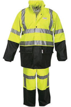 Lg Lime & Black Luminator .40 mm Class 3 Flame Retardant 2 Piece Rain Suit