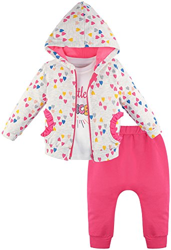 Lilax Baby Girl Cotton Heart Print T-Shirt, Pant, and Hoodie 3 Piece Outfit Set 18M Pink -
