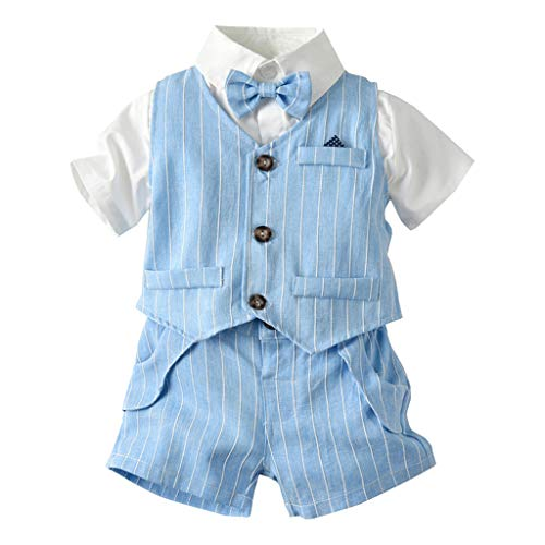 - Toddler Baby Bow Tie T-Shirt Tops+Plaid Striped Vest+Shorts Three-Piece Gentleman Suit,3M-5Y,SIN vimklo Blue