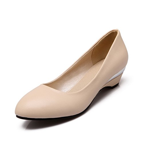 Odomolor Women's PU Pull-On Round-Toe Low-Heels Solid Pumps-Shoes, Beige, 38