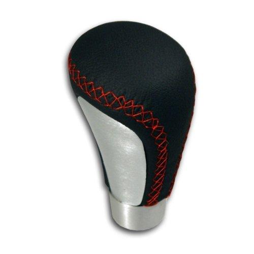 Pommeau de Shift cuir artificiel le levier de vitesses noir avec surpiq/ûres rouges et aluminium bross/é SK895