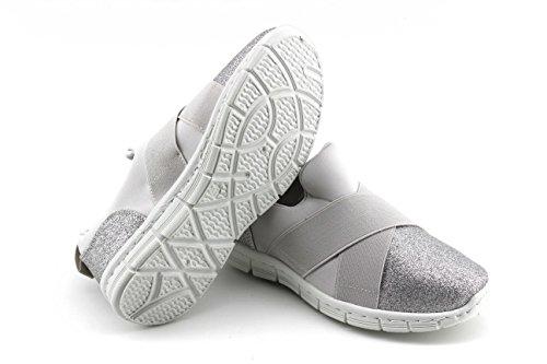 Modelisa - Zapatillas Elasticas Purpurina Mujer Plata