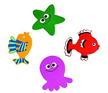 Non-Slip Bathtub Appliques - Kids Bath Tub Mat Non Skid Childish PVC Sea Animals by Children's Non-Slip Bathtub Appliques