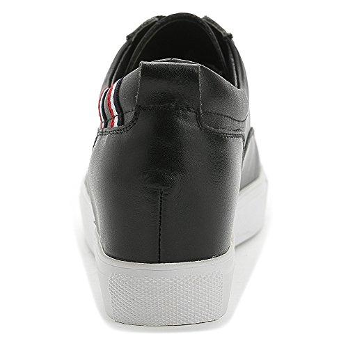 Shenn Dames Verborgen Sleehak Vetersluiting Perfect Comfort Leer Mode Sneakers Zwart