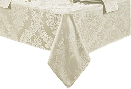 Barcelona No-Iron Soil Resistant Fabric Damask Tablecloth - 52 X 52 Square - Antique White - Barcelona Square
