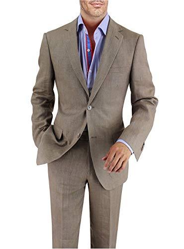 DTI BB Signature Italian Men's Linen Suit Modern Fit 2 Button Jacket Plain Pant (40 Regular US / 50R EU/W 34