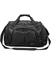 39L Fitness Sport Gym Bag with Shoes Compartment Waterproof Travel Duffel Bag for Women and Men, Black