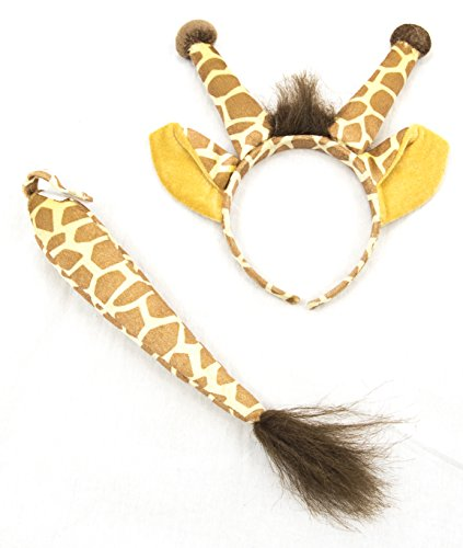 Squirrel Products Giraffe Headband Ears and Tail Set - One Size - Costume Accessories -