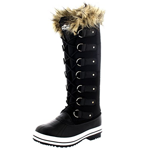 Womens Lace Up Rubber Sole Knee High Winter Snow Rain Shoe Boots -
