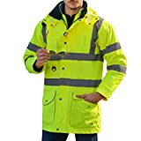 Holulo Waterproof 7-in-1 Reflective Class 3 Safety Parka Jacket with Zipper and Pockets Size XL