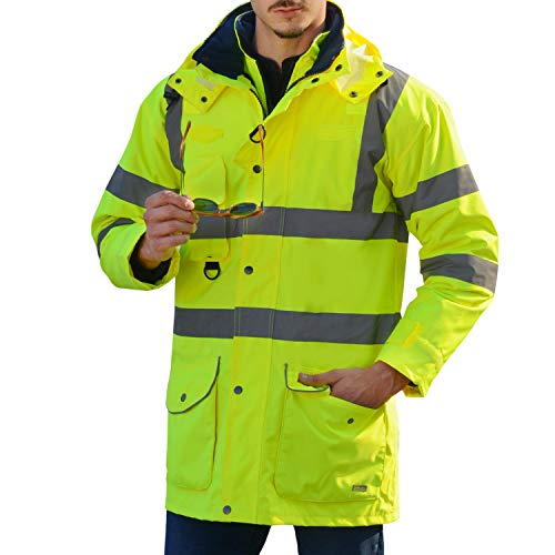 (Waterproof Neon Yellow 7-in-1 Reflective Class 3 Safety Parka Bomber Jacket With Zipper and Pockets With Removable Hat Size L)