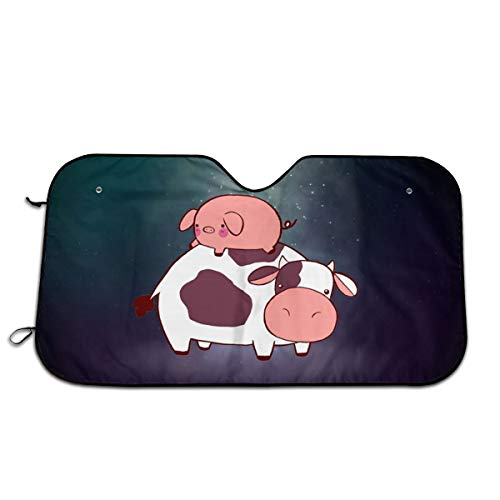 Pig Lying On Cow Windshield Summer Blocks UV Rays Protector Sun Shade Cover Easy Set for Cars