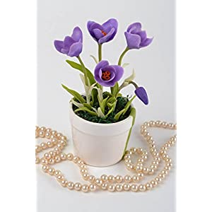 Handmade Decorative Crocus Flower Composition Cold Porcelain Designer Pot 11