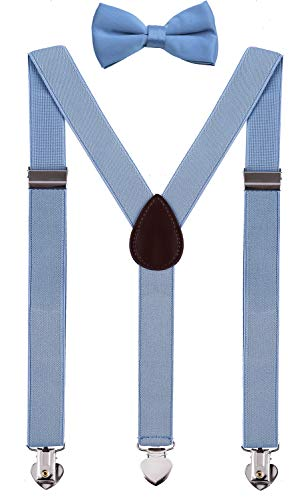WDSKY Boys Bow Tie and Suspenders Set Adjustable for Wedding 30 Inches Sky Blue