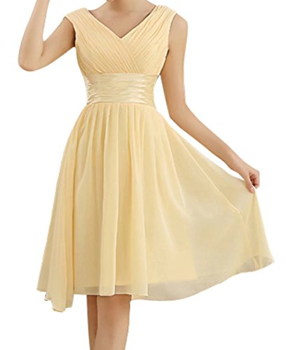 Short Formal Semi Champagne Prom AiniDress Dress for Homecoming Bridesmaid Wedding Dresses Chiffon Simple qZBxFSEq
