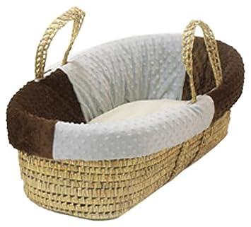 BabyDoll Minky Dots Moses Basket Set, Choc/Sage 8050mb