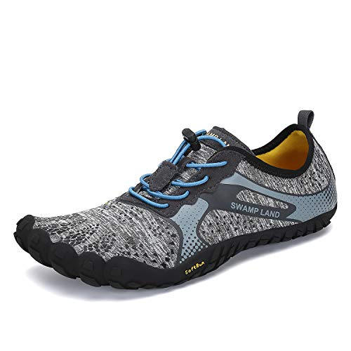 Mens Womens Barefoot Gym Walking Trail Beach Hiking Wide Toe Box Water Shoes Aqua Sports Pool Surf Waterfall Climbing Quick Dry Grey 8 M US Women / 6.5 M US Men