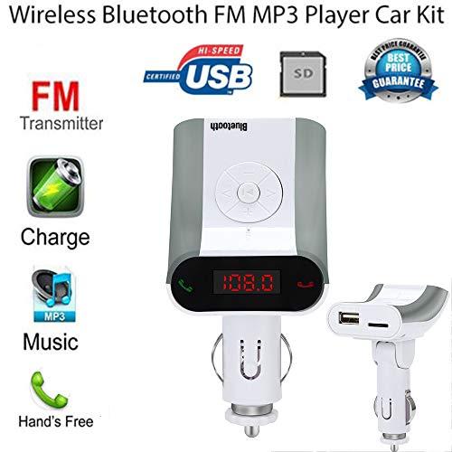 USHOT Wireless Bluetooth LCD MP3 Player Car Kit SD MMC USB FM Transmitter Modulator White One Size