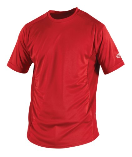 Rawlings Men's Short Sleeve Baselayer Shirt, Scarlet, (Rawlings Pro Mesh)