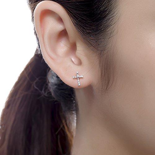 Or blanc 18ct 750avec accents de diamant Croix Unique Boucles d'oreilles à tige (0,08carat au total, G-H Couleur, Vs2-si1Clarté) Femme Bijoux Cadeau