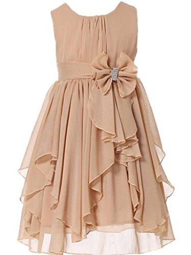 Champagne 6 Light - Bow Dream Flower Girl Dress Bridesmaid Ruffled Chiffon Champagne 6