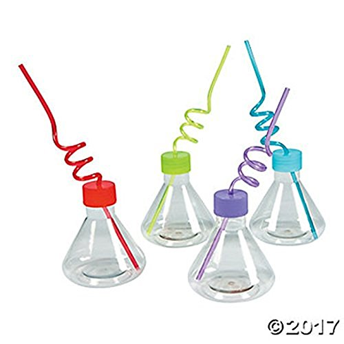 16 science party Cups with silly loop straws - Plastic reusable