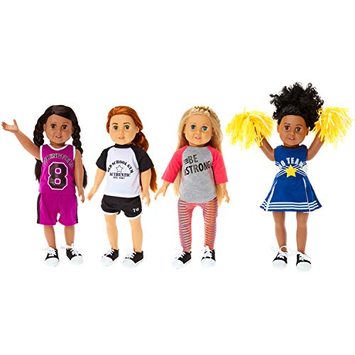 "Springfield Sporty Girl Outfit Sets, Fits 18"" American Girl Dolls, 5 Items: Soccer Outfit, Cheerleader Outfit & Poms, Basketball Outfit & Sneakers"