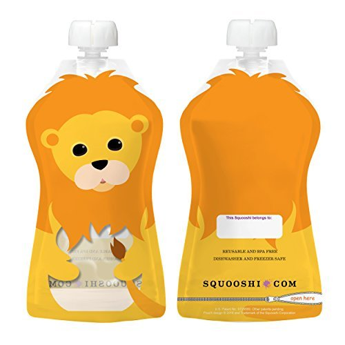 Squooshi Reusable Food Pouch | Large Lion 6 Pack | Refillable Squeeze Pouches for Kids of All Ages