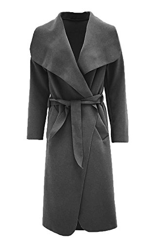 Malaika ? Womens Ladies Waterfall Long Full Sleeves Cape Cardigan Belted Jacket Trench Coat - Available in PLUS SIZES UK 8-20 Dark Grey
