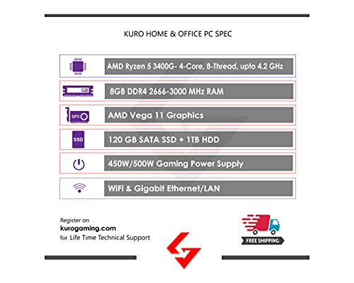 Kuro Gaming Basic Gaming PC RGB AMD Ryzen 5 3400G CPU, 120GB SSD, 1TB HDD, 16GB DDR4 RAM, WiFi, Gigabit LAN, USB 3.0, 4K Compatible, Win 10 (Kuro Basic Gaming PC)