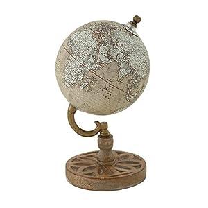 "Deco 79 Wood Metal PVC Globe 5"" W, 9"" H-24977, 5"" x 9"""