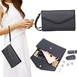 Zg Women Clutch Wallet Purse Wristlet, Passport Wallet, Cell Phone Clutch Wallet, All In One Purse Extra Capacity - Black