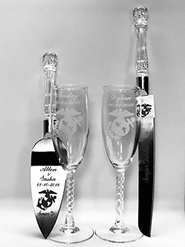 Military U.S. Marine Corps Toasting Wedding Flute glasses & Cake Knife server set names FREE